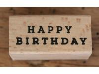Holzstempel eckig Happy Birthday